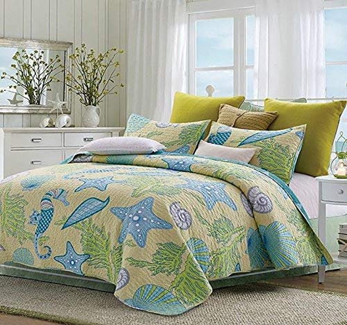 Virah Bella Collection Debra Valencia Beach Dreams Polyester King Printed Quilt Bedding Set with 2 King Shams