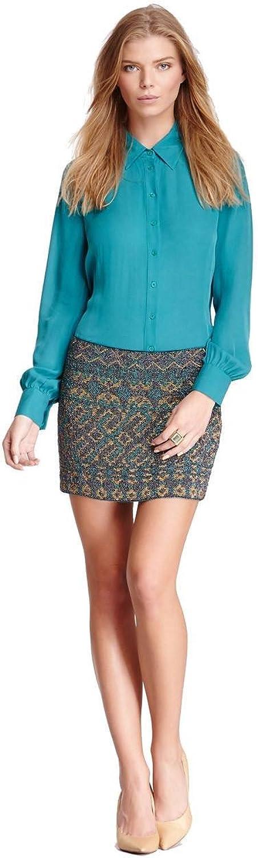 Border Seed Bugle Beaded Silk Mini Skirt