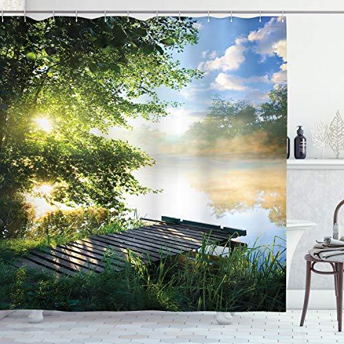 ABAKUHAUS Landschaft Duschvorhang, Fishing Pier von River, Moderner Digitaldruck mit 12 Haken auf Stoff Wasser & Bakterie Resistent, 175 x 200 cm, Grün-Blau-weiß