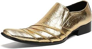 YOWAX Zapatos de Cuero de Zapatos de Charol para los Hombres, para Fiestas, Zapatos de Cuero Ocasionales del Vaquero Perso...