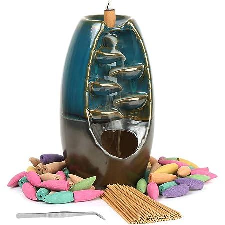Loopunk - Bruciatore di incenso con flusso di fumo, supporto per incenso, incensiere in ceramica, per casa, ufficio, artigianato, Colore tè, 1 Count