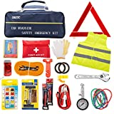 72pcs Auto Emergency Car Kit -First Aid Kit with Jumper Cables, Tow Rope,Triangle, Flash Light, Rain Coat, Safety Vest & More Multifunctional Roadside Assistance Tools Ideal Auto Winter Accessory
