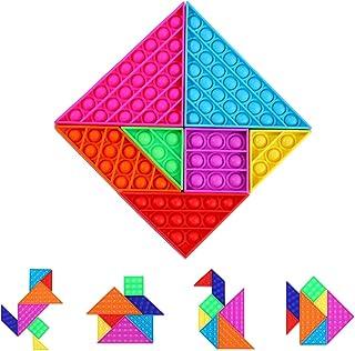 7 Pcs Push Pop Bubble Sensory Fidget Toys, Tetris Jigsaw Puzzle Toys for Autism Special Needs Stress Relief Silicone Press...