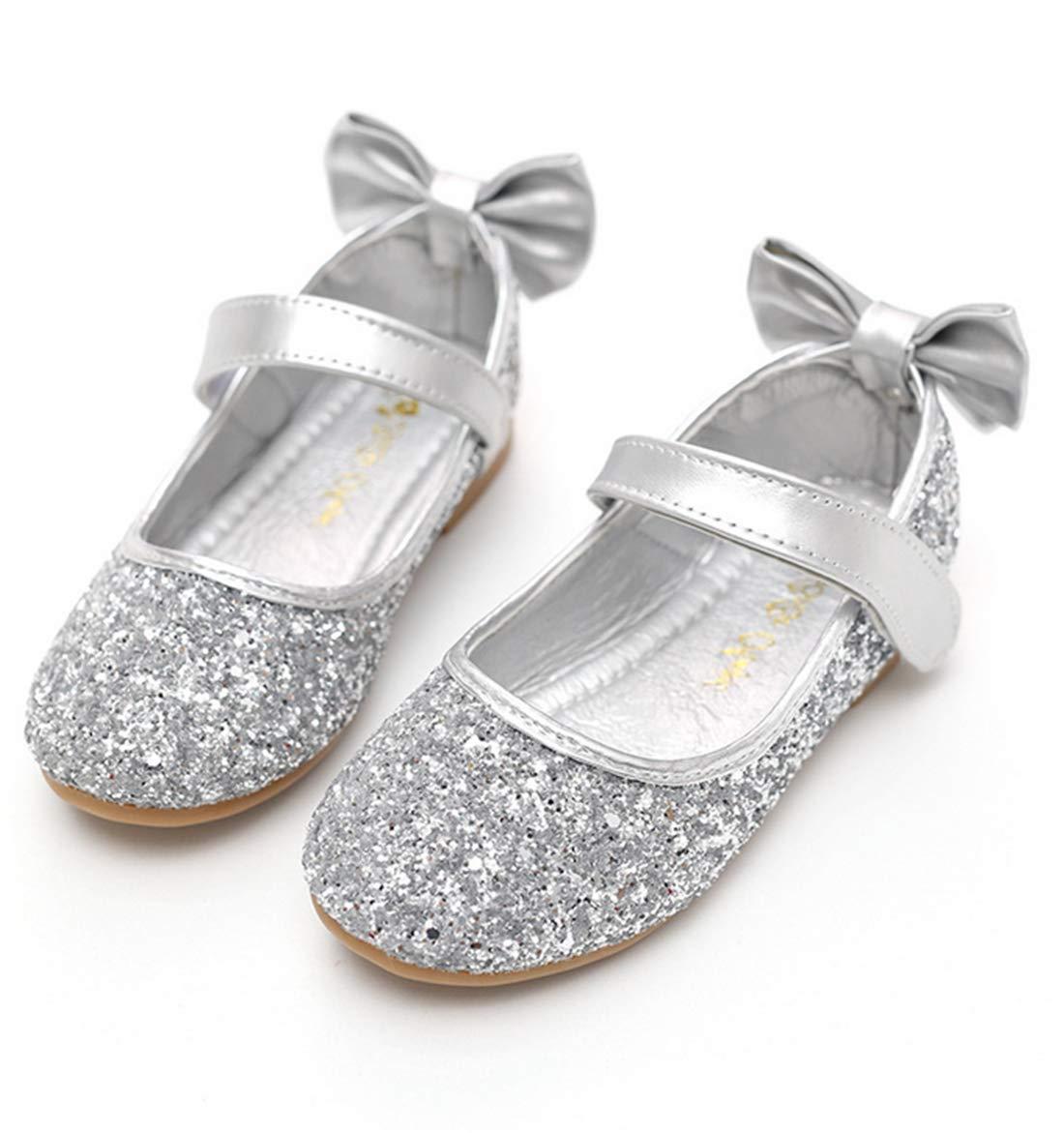 BBSMYA Fille Enfant Or Argenté Chaussure de Princesse Boucle avec Paillette Noeud Ballerie pour Soirée Mariage Mode Grande Taille