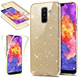 Funda Compatible con Samsung Galaxy A6 Plus 2018 360 Grados Integral Ambas Carcasa,Funda 360 Full Body Completa Cas + Bling Glitter Brillante 3 en 1 Funda Ultra Delgado Doble Silicona Gel Funda