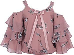 Cutecumber Girls Georgette Floral Printed Cold Shoulder Dusty Pink Top.CC1925A-DUSTYPINK