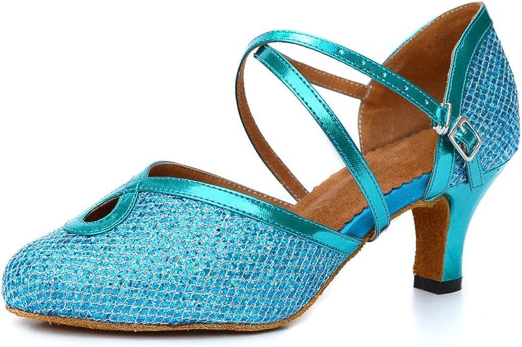Misu Women's Closed Toe Suede Sole Latin Salsa Tango Practice Ballroom Dance Shoes with 2.2