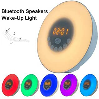 Sloovery Wake Up Light Alarm Clock Sunrise Sunset Simulation Digital LED Bluetooth Speaker FM Radio/6 Natural Sound/10 Brightness Levels/Snooze Function