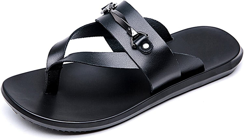 Mens Sandals, Men's Casual Thong Flip Flops shoes Genuine Leather Beach Slippers Non-Slip Soft Flat Sandals. (color   Black, Size   7.5MUS)