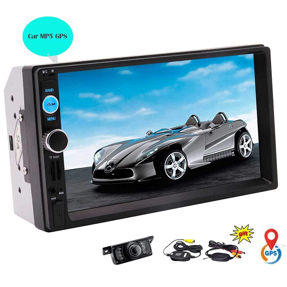 Eincar 7020G 2 DIN Wince MP5 Car Media Player Bluetooth Handsfree Calls Mirror Link GPS Navigation Free Wireless Rear-View Camera AUX/USB/SD/BT/FM with Built-in GPS Map Card Coloful Key Lights Remote