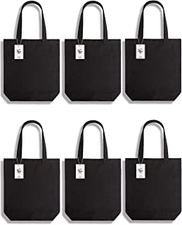 Lily Queen Cotton Canvas Tote Bag Durable Canvas Shopping Bags Reusable Grocery Gift Bags Washable with Flat Bottom 15H x 13W x 4D (Black - 6 Pack)