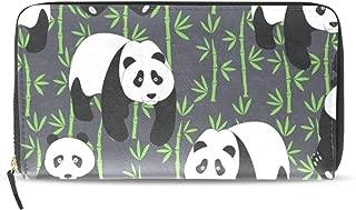 Womens Wallets Abstract Cute Pandas Leather Passport Wallet Change Purse Zip Handbags