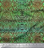 Soimoi Grun Baumwolle Ente Stoff Streifen & Mandala