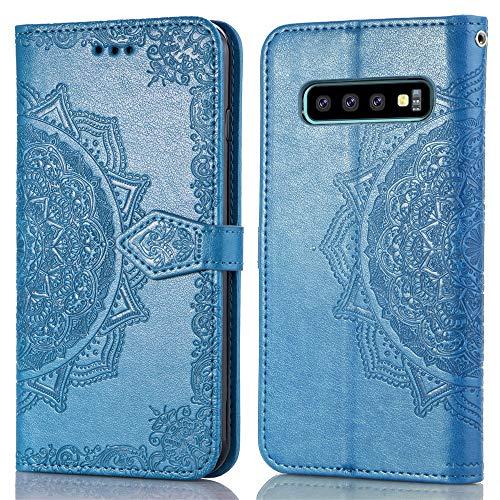 QPOLLY Kompatibel mit Samsung Galaxy S10 Plus Hülle PU Leder Tasche Brieftasche Handyhülle Mandala Blumen Muster Ledertasche Flip Hülle Schutzhülle mit Ständer Kartenhalter,Blau