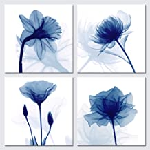 Pyradecor Blue Flickering Flower Modern Abstract Paintings Canvas Wall Art Gallery Wrapped Grace Floral Pictures on Canvas...