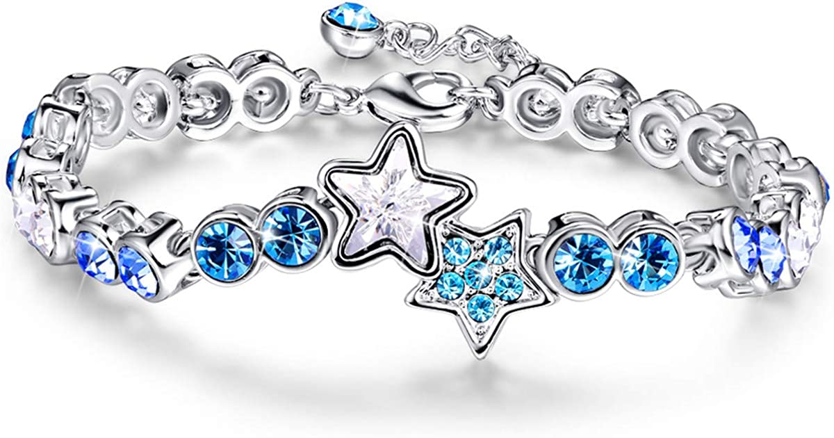 BONLAVIE Womens Lucky Star Tennis Bracelet Oklahoma City Mall Free Shipping New Blue 8