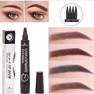 Plovex Waterproof Microblading Eyebrow Tattoo Pen 4 Head Fine Sketch Enhancer Fork Tip Eyebrow Tattoo Tint Eyebrow Gel Pencil Makeup (01 Light brown)