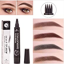 Plovex Waterproof Microblading Eyebrow Tattoo Pen 4 Head Fine Sketch Enhancer Fork Tip Eyebrow Tattoo Tint Eyebrow Gel Pencil Makeup (03 Brown)
