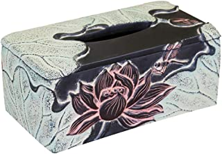 Household Items Tissue Box Square, Living Room Office Lotus Rectangular Tray, New Chinese Antique Art Decoration, for Bedr...