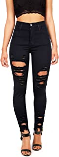 Vibrant Women's Juniors High Rise Jeans w Heavy Distressing