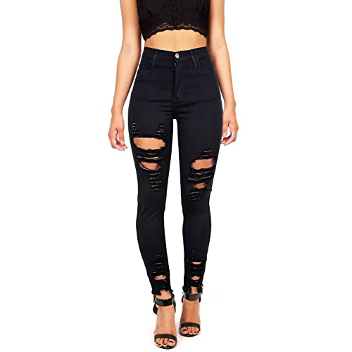 25055fe644 Vibrant Women's Juniors High Rise Jeans w Heavy Distressing