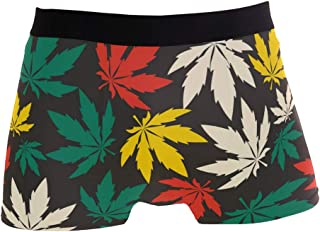56444aac6482 Funny Cannabis Leafs Boxer Briefs for Men Teen Boy Soft Breathable Underwear