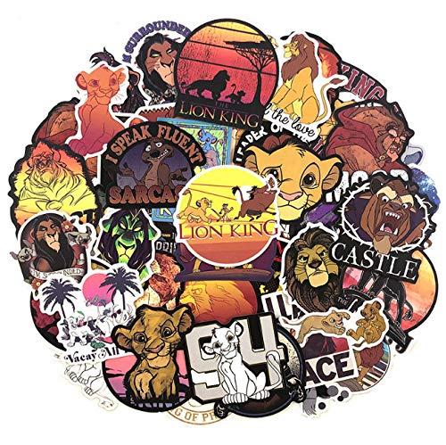 JIAQI Lion King Animal Cartoon Aufkleber für Motorrad Laptop Gepäck Skateboard Gitarre Fahrrad Aufkleber 50 Stück/Pack