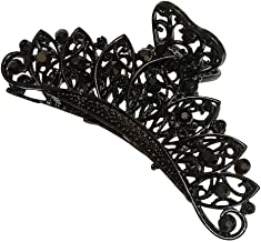 Suoirblss Women Retro Metal Hair Accessories Rhinestone Fancy Hair Claw Jaw Clips PinsFashion Flowers Hair Catch Barrette (A#)