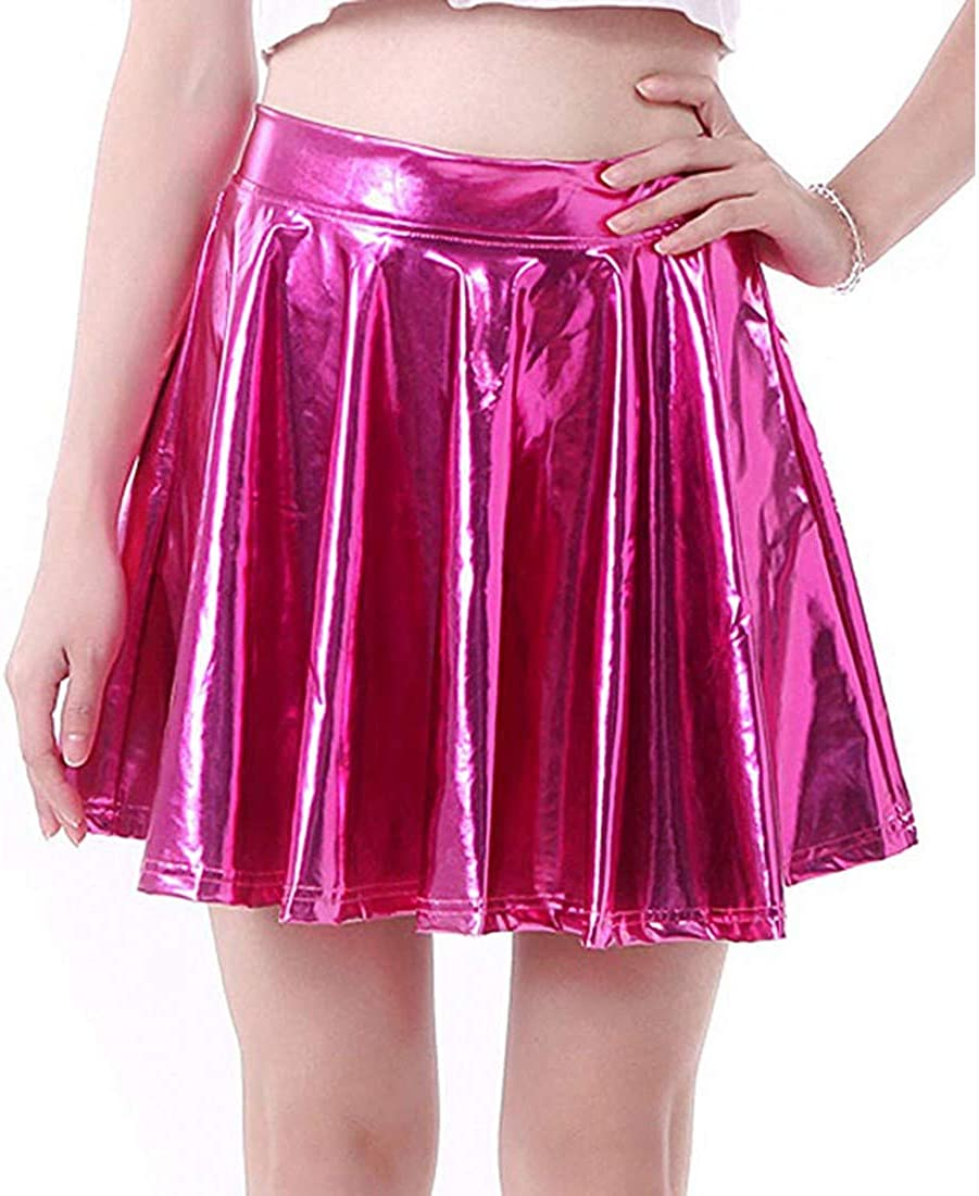 T-Crossworld Women's Casual Fashion Flared Pleated A-Line Circle Skater Skirt