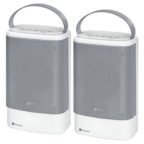 AEG BSS 4833 Bluetooth Lautsprecher-Set, 2 Lautsprecher auch einzeln nutzbar, inkl. Akku und Freisprecheinrichtung, USB-Port, Aux-in, Touchkey-Nahbedienung (Blau Beleuchtet), Indoor/Outdoor geeignet