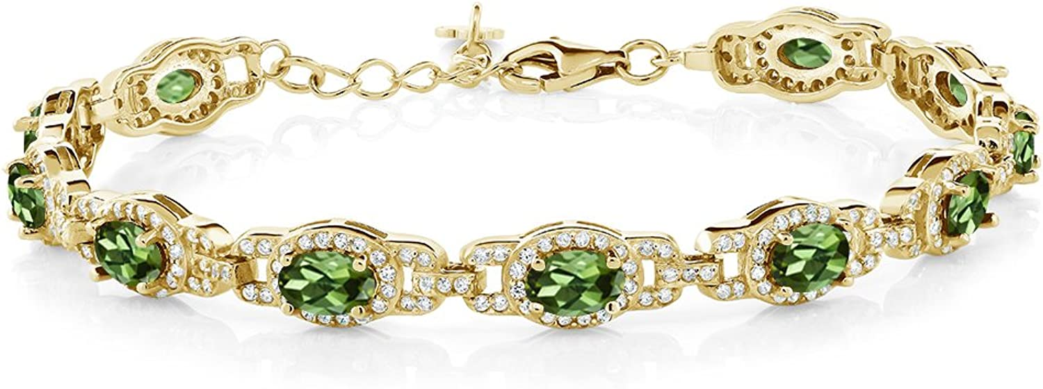 8.00 Ct Oval Green Tourmaline 18K Yellow gold Plated Silver 7 Inch Bracelet With 1 Inch Extender