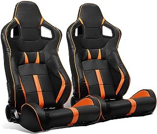 ModifyStreet 1 Pair Universal Black/Orange Strip PVC Leather Racing Bucket Seats