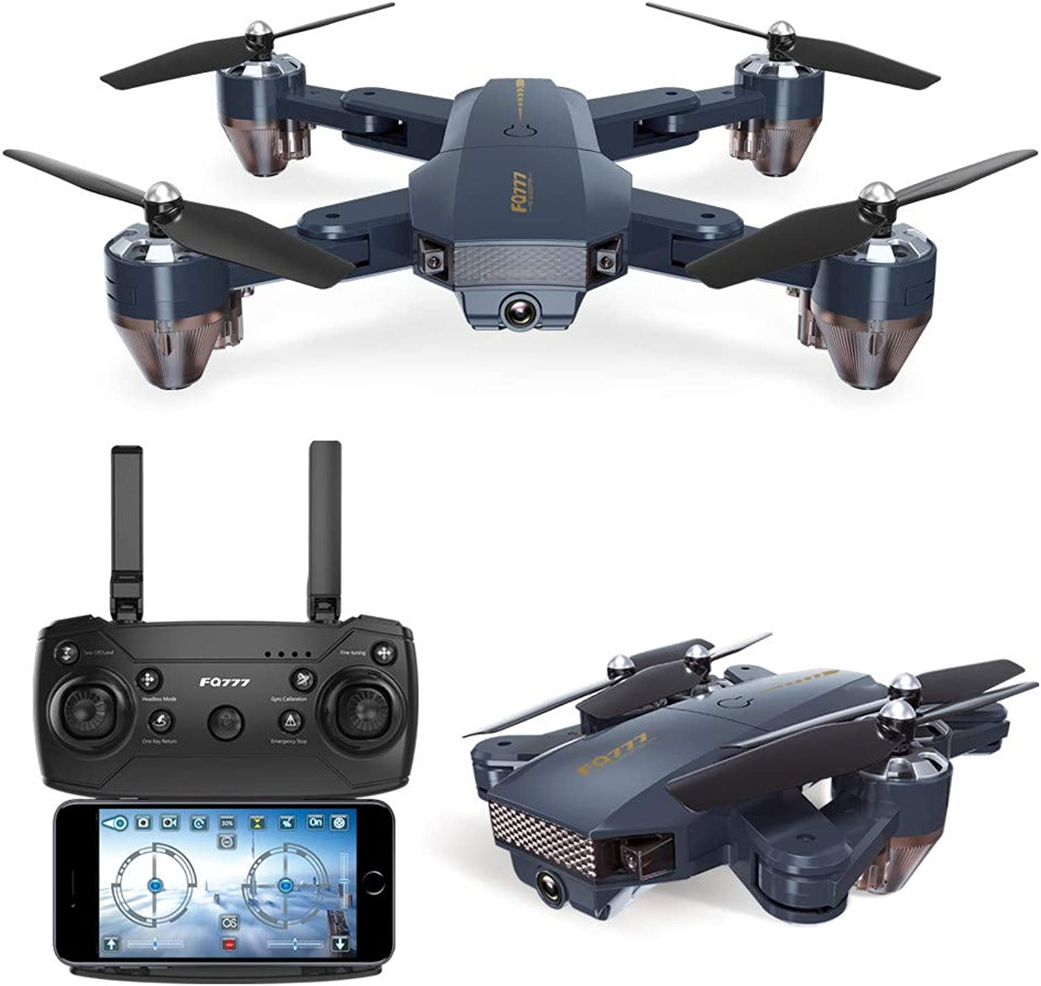 IGEMY FQ777 FQ35 2.4G RC 720P WIFI FPV HD Camera Foldable RC Quadcopter Drone Hover,360 Degree Flips (black)