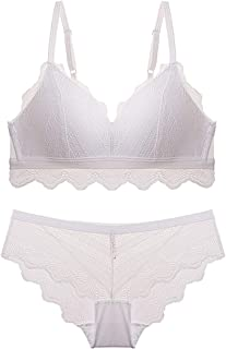 Your only friend Lace Embroidered Pattern Sexy Triangle Cup Bra Set, Sponge, no Steel Ring, Adjust Chest Underwear, Three Rows and Two Buckles. (Color : White, Size : 70B=30B=65B)
