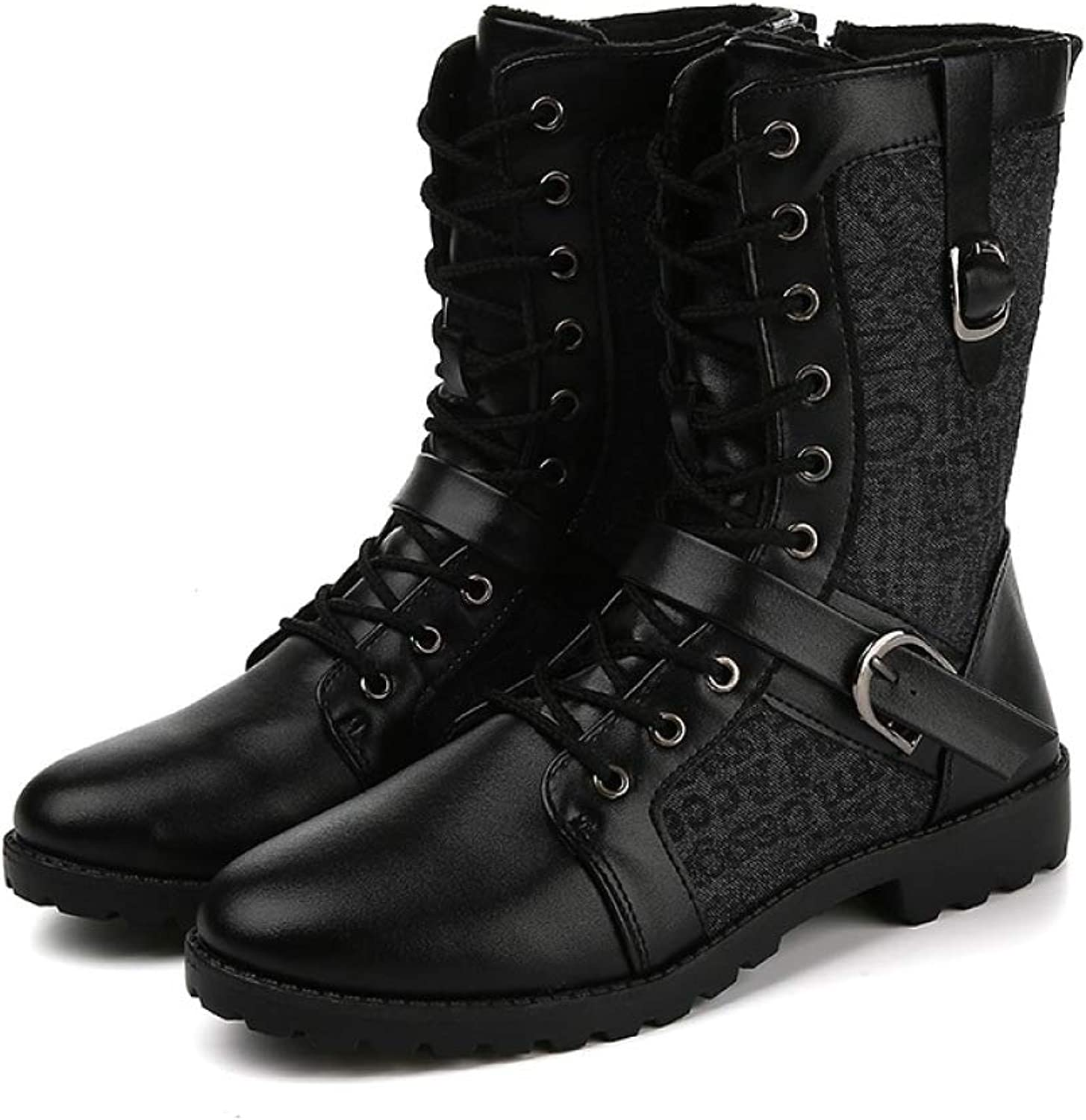 QIKAI Military Boots for Men Men's Boots Youth High Boots Warm Outdoor Military Boots