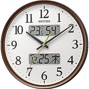 リズム時計工業(Rhythm) 掛け時計 電波 アナログ 連続秒針 温度 湿度 カレンダー 茶 Φ35x5.3cm 8FYA03SR06