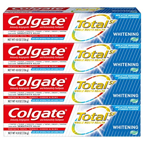 Colgate Total Whitening Toothpaste Gel with Stannous Fluoride and Zinc, Multi Benefit Toothpaste with Sensitivity Relief and Cavity Protection - 4.8 ounce (4 Pack)