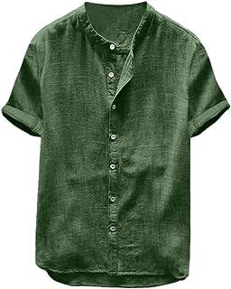 MakingDa Mens Collarless Henley Short Sleeve Shirts Breathable Button Top Lightweight Grandad T Shirt Summer Lounge Wear