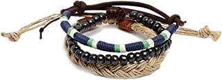 Unknown By Ayesha Men's Set Of Three Multicolour Faux Leather Beaded Bracelets
