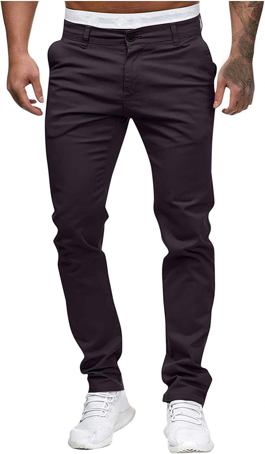 FUNEY Men's Stretch Khaki Modern-Fit Flat-Front Pant Casual Pockets Skinny Colored Slim Tapered Chino Pants Trousers