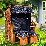 Strandkorb Ostsee XXL Volllieger 2 Sitzer - 120 cm breit - blau weiß gestreift inklusive Schutzhülle, ideal für Garten und Terrasse