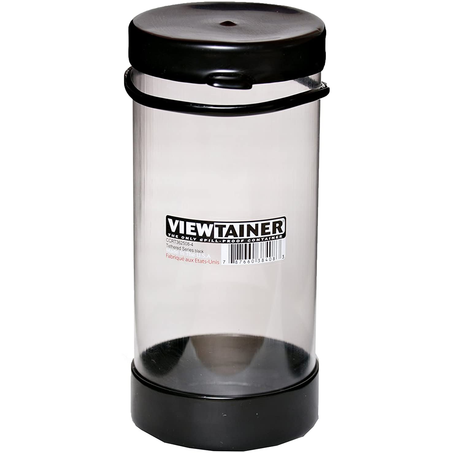 Viewtainer CCRT362508-4 Black Tethered Cap Storage Container, 2.75