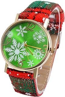 Christmas Theme Round Wristwatch Alloy Case Watch Stainless Steel Alloy Watch,Christmas Round Watch,Christmas Buckle Women Girl Wrist Accessories