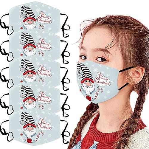 NN/A 5 Stücke Weihnachts Mund und Nasenschutz Kinder Weihnachtsgesichtslose Puppe Motiv Weihnachten Waschbar und Wiederverwendbar Atmungsaktive Multifunktionstuch