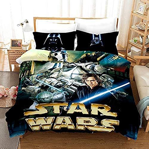 YZHY Juego de funda de edredón con diseño de personajes de Star Wars, juego de ropa de cama con cremallera, fácil de cuidar, cómoda funda de edredón para adolescentes y niñas (135 x 200)
