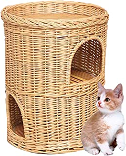 DYYTRm Wicker Cat Tower Two Tier Bed Basket House,Cat Litter Rattan Closed Cat House Four Seasons Universal Cat Litter Cat Room Washable