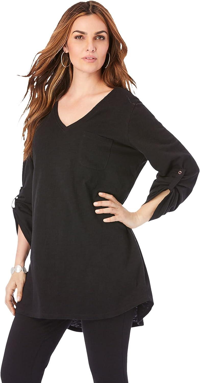 Roaman's Women's Plus Size Lightweight Textured Slub Knit Boyfriend Tunic Long Shirt
