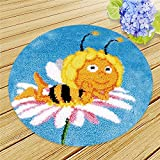 Knüpfteppich Home Dekor/Geschenk für Kinder und Erwachsene zum Selber Knüpfen Teppich Latch Hook Rug,Bee,50x50cm/20x20inch