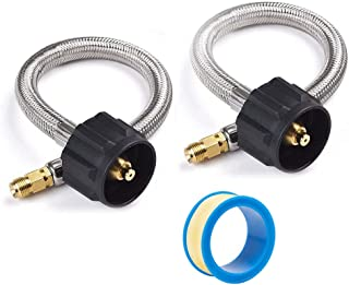 SHINESTAR 12inch Pigtail Stainless Braided RV Propane Hose Connector with 1/4 in Inverted Male Flare for Marshall Excelsior/Fairview Changeover Two Stage Regulator, 2 Pack, Include Thread Seal Tape
