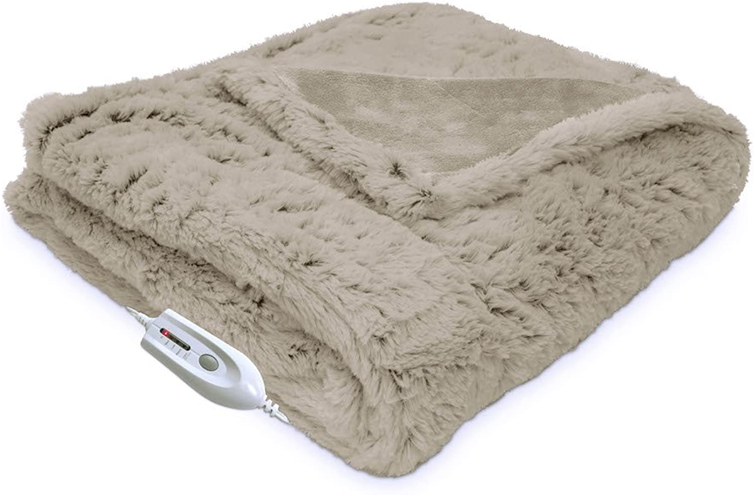 Serta   Electric Heated Faux Fur Throw with 5-Setting Controller (Sand)